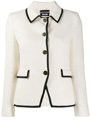 Boutique Moschino Textured Tweed Jacket White