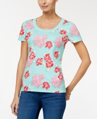 Charter Club Printed Cotton T Shirt Only At Macy's Aqua Gloss Combo
