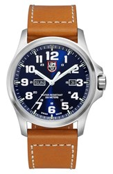 Men's Luminox 'Atacama Field' Leather Strap Watch 45Mm