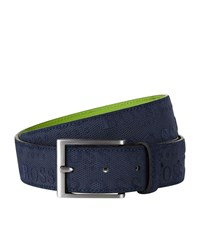 Hugo Boss Green Leather Belt Unisex Navy