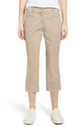 Brax Sunny Stretch Cotton Slit Hem Pants Almond