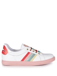 Red Valentino Rainbow Stripes Low Top Leather Trainers White Multi