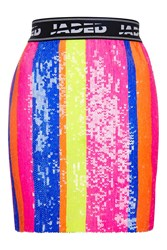 Jaded London Neon Sequin Stripe Mini Skirt By Multi
