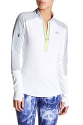 New Balance Precision Half Zip Long Sleeve Shirt White