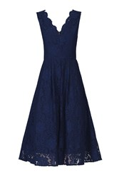 Jolie Moi Scalloped Lace Prom Dress Navy