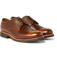 Grenson Curtis Burnished Full Grain Leather Derby Shoes Dark Brown