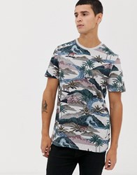 Ted Baker T Shirt With Tiger Print Grey