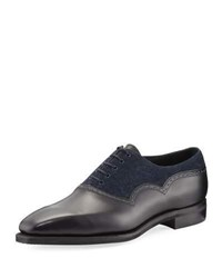 Corthay Wilfrid Denim And Leather Lace Up Shoe