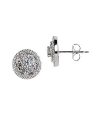 Lord And Taylor Sterling Silver Cubic Zirconia Halo Stud Earrings