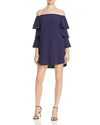 Aqua Off The Shoulder Ruffle Sleeve Dress Navy