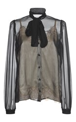 Dolce And Gabbana Sheer Bow Blouse Black