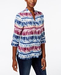 Alfred Dunner Sierra Madre Collection Printed Pintucked Shirt Multi