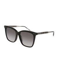 Bottega Veneta Square Gradient Transparent Sunglasses Black Gray