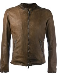 Giorgio Brato Zipped Leather Jacket Brown