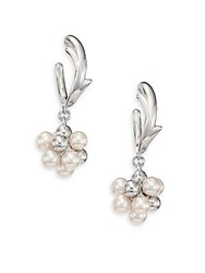Majorica 4Mm White Round Pearl And Cubic Zirconia Cluster Hoop Earrings Silver