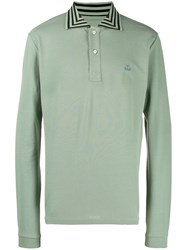 Vivienne Westwood Striped Collar Polo Shirt Green