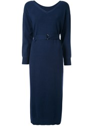 Loveless Belted Midi Dress Blue