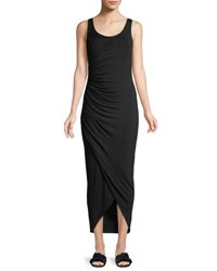 Bailey 44 Dishdasha Scoop Neck Side Ruched Jersey Dress Black