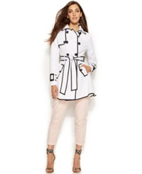 Betsey Johnson Flared Corset Back Trench Coat White Black
