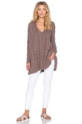 Free People Easy Cable V Neck Sweater Brown