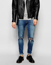 Hoxton Denim Skinny Jean Light Wash Ripped Knee Cream