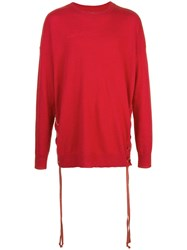 Faith Connexion Lace Up Side Jumper Red