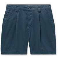 Albam Slim Fit Garment Dyed Pleated Cotton Ripstop Shorts Blue