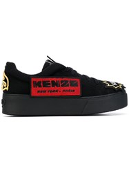 Kenzo Patch Embroidered Sneakers Women Cotton Goat Skin Rubber 38 Black