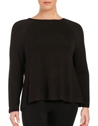 Lord And Taylor Plus Raglan Long Sleeve Sleeve Shirt Black