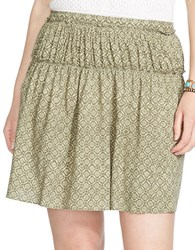 Lauren Ralph Lauren Plus Printed Tiered Smocked Waist Skirt Olive