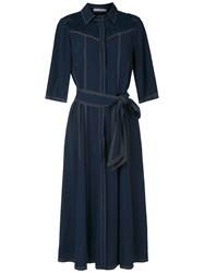 Martha Medeiros Stitching Midi Shirt Dress 60