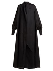 The Row Adesuwa High Neck Silk Gown Black