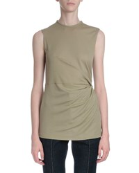 Givenchy Sleeveless Side Ruching Tee Beige