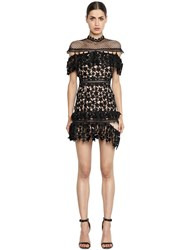 Self Portrait Yoke Ruffled Star Lace Mini Dress