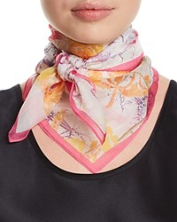 Fraas Floral Silk Square Scarf Pink