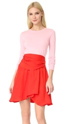 Carven Long Sleeve Dress Red Pink