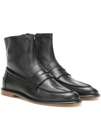 Loewe Leather Loafer Ankle Boots Black