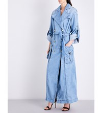 Balmain Oversized Double Breasted Denim Trench Coat Bleu Moyen