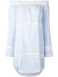 Derek Lam 10 Crosby Off Shoulder Bell Sleeve Dress Women Cotton 6 Blue