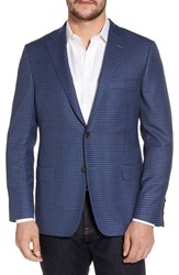 Hickey Freeman Classic B Fit Check Wool Sport Coat Blue