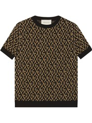 Gucci Gg Logo Knitted Jumper Brown