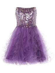 Anoushka G Cara Short Embellished Prom Dress Purple