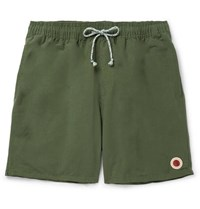 Mollusk Mid Length Cotton Blend Swim Shorts Army Green