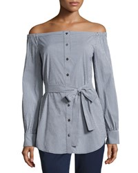 Michael Kors Gingham Off The Shoulder Belted Tunic Blue White Blue White