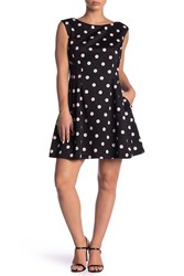 Vince Camuto Polka Dot Fit And Flare Dress Petite Blck Multi