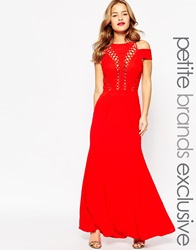 Jarlo Petite Bardot Shoulder Maxi Dress With Cut Out Detail Red