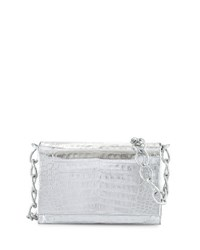 Nancy Gonzalez Medium Crocodile Chain Crossbody Bag Silver