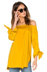 Tibi Off The Shoulder Tunic Yellow