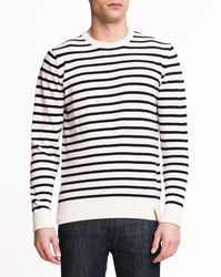 Knowledge Cotton Apparel Blue And White Striped Round Neck Jumper