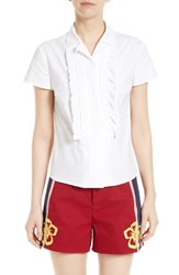 Red Valentino Women's Ruffle Poplin Camp Shirt